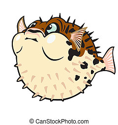 cartoon puffer fish isolated on white background