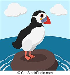 cartoon puffin on a sea cliff color illustration