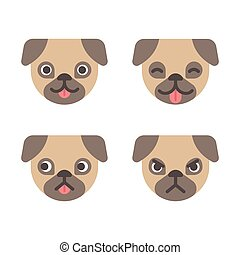 Cartoon pug faces set. Adorable little dog with different emotions. Cute flat vector illustration.