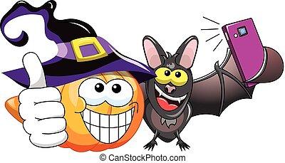 Cartoon pumpkin and bat selfie - Cartoon pumpkin and bat...