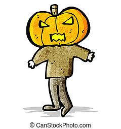 cartoon pumpkin head man