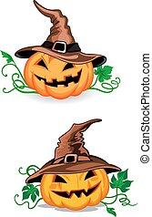 Cartoon pumpkin lanterns in witch hats