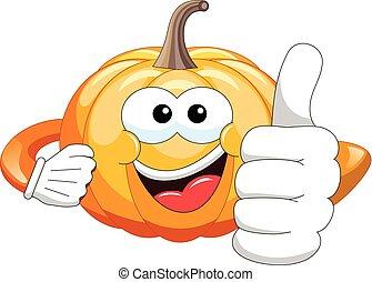 Cartoon pumpkin thumb up