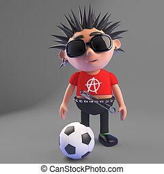 Cartoon punk rocker kicking a football, 3d illustration