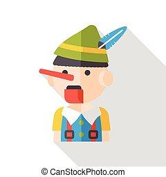 cartoon puppet flat icon
