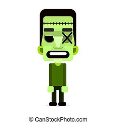 Cartoon puppet green zombie.Vector illustration. Happy Halloween.
