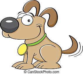 Cartoon puppy - Cartoon illustration of a puppy wagging his...