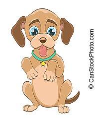 cartoon puppy dog on white. vector illustration