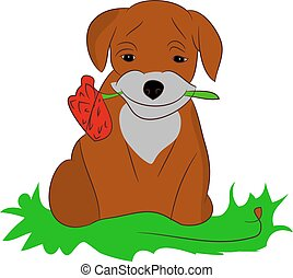 Cartoon Puppy with a flower on a white background.