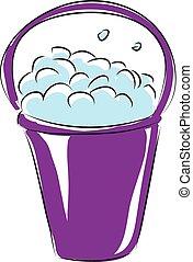 Cartoon purple bucket of soap vector illustration on white background