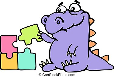 Cartoon purple croc playing with a puzzles. Vector illustration. Digital drawing cute character.