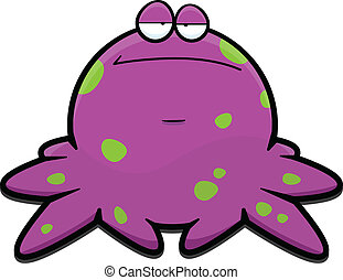 Cartoon Purple Octopus Tired - Cartoon illustration of a...