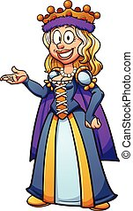 Cartoon queen - Cartoon medieval queen. Vector clip art...