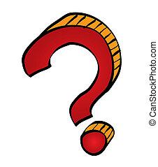 Cartoon question mark symbol. Vector illustration.