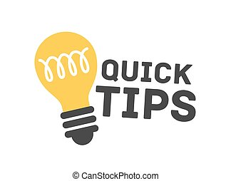 Cartoon quick tip badge isolated on white background. Light bulb symbol of solution or advice vector flat illustration. Idea sign with creative letterings or inscriptions decorated by design element.
