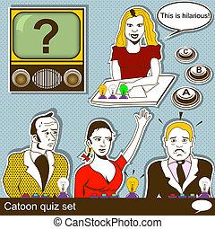 cartoon quiz illustration set - Cartoon quiz illustration...