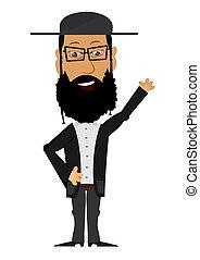 Cartoon Rabbi on a white background