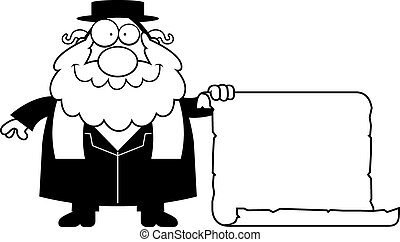 A cartoon illustration of a rabbi with a sign.