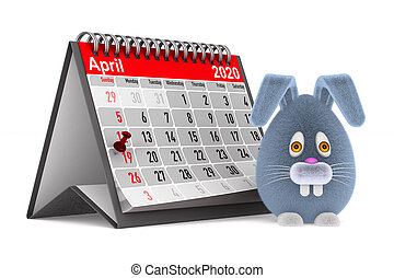 cartoon rabbit and calendar on white background. Isolated 3D illustration