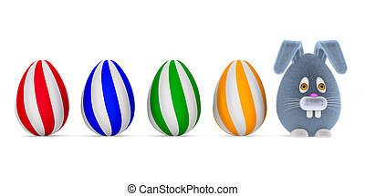 cartoon rabbit and eggs on white background. Isolated 3D illustration