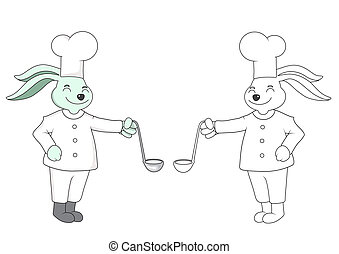 Cartoon Rabbit and stripes chef. On a white background