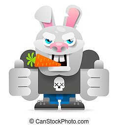 Cartoon Rabbit Character. Vector Illustration. Isolated On White Background