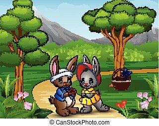 Cartoon rabbit couple on valentine day