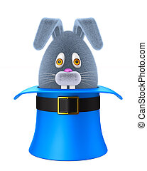 cartoon rabbit into hat on white background. Isolated 3D illustration