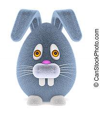cartoon rabbit on white background. Isolated 3D illustration