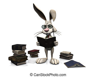 Cartoon rabbit reading a book.