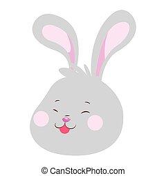 Cartoon Rabbit showing the tongue, flat design