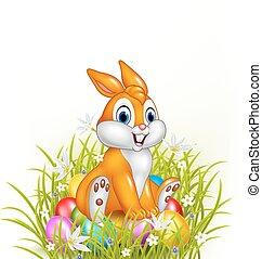 Cartoon rabbit sitting on Eggs