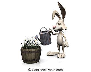 Cartoon rabbit watering flowers.
