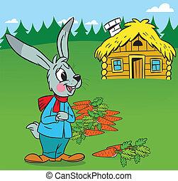Cartoon rabbit with carrot
