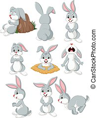 Cartoon rabbit with different pose and expression - Vector...