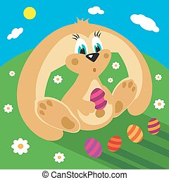 Cartoon rabbit with easter eggs on the grass