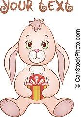 Cartoon Rabbit with Gift Box