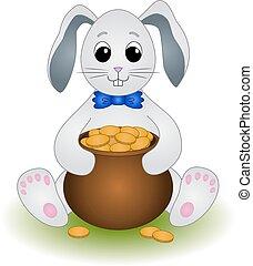 Cartoon Rabbit with Pot of Gold Coins