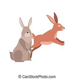 cartoon rabbits icon, flat design