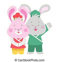 Cartoon Rabbits with kimonos icon, flat design