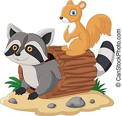cartoon raccoon and squirel