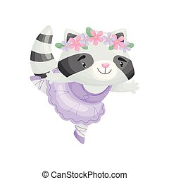 Cartoon raccoon in ballerina dress. Vector illustration on white background.