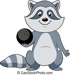 Cartoon raccoon player with bowling ball