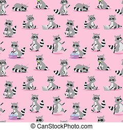 Cartoon raccoon vector illustration seamless pattern...