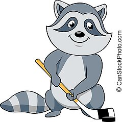 Cartoon raccoon with hockey stick and puck