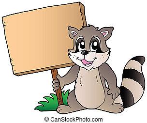 Cartoon racoon holding wooden board