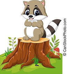 Cartoon racoon posing on tree stump
