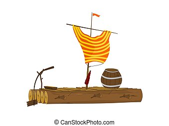 Cartoon raft. - Cartoon raft with a barrel and a sail made...