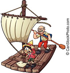 Pinocchio on a raft. Vector clip art illustration with simple gradients. Each element on a separate layer.