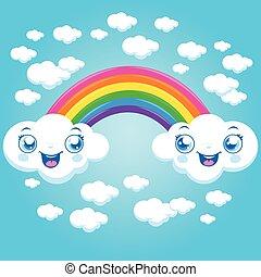 Cartoon rainbow and clouds